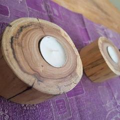 Recycled Tallowood Log Tea Candle Holders (Set of 3)