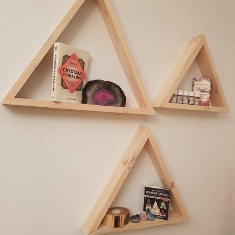 Recycled Timber Triangle Display Shelves - SET OF 3