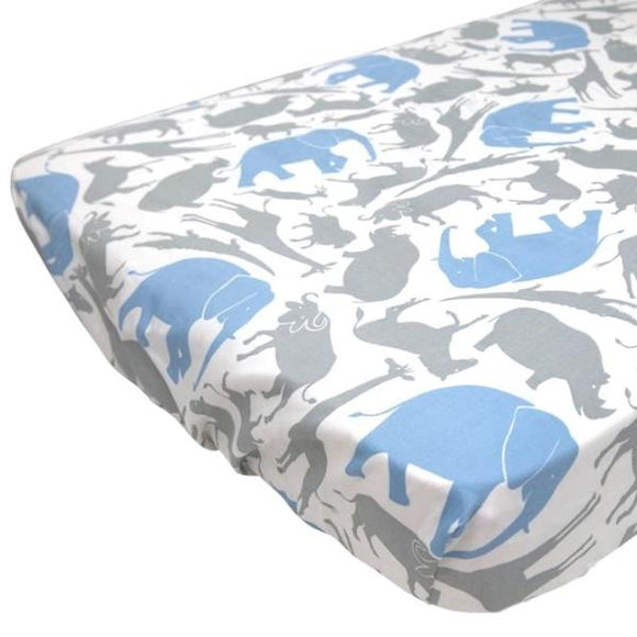 Organic Cotton Cot/Crib Fitted Sheet - Safari Animals - Wholesome Habitat