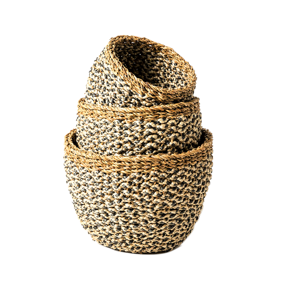 Seagrass Jute Basket - Natural Charcoal - Wholesome Habitat