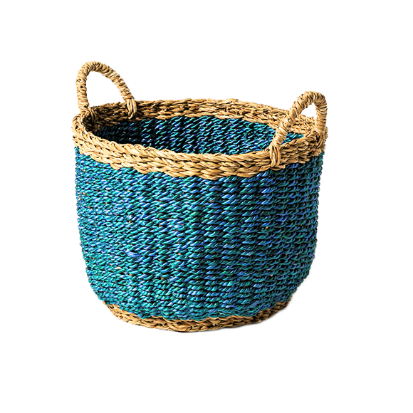 Seagrass Jute Blue Basket - Wholesome Habitat