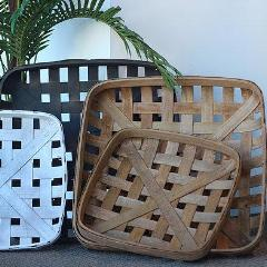 Set of 2 Antique Replica Tobacco Baskets. - Wholesome Habitat
