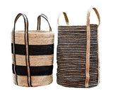 Set of 2 Jute Black Striped Cylinders.