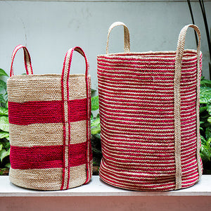Set of 2 Jute Red Striped Cylinders.