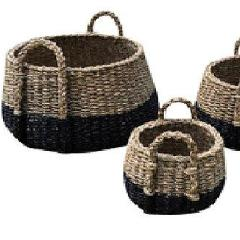 Set of 3 Black Dipped Round Seagrass Belly Baskets.