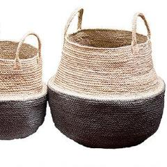 Set of 3 Jute Kalamata Dipped Foldable Storage Pods. - Wholesome Habitat