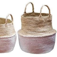 Set of 3 Jute White Dipped Foldable Storage Pods.