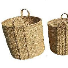 Set of 3 Large Round Seagrass Log/Utility Baskets. - Wholesome Habitat