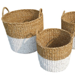Set of 3 White Dipped Round Seagrass Storage Cylinders.