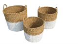 Set of 3 White Dipped Round Seagrass Storage Cylinders. - Wholesome Habitat