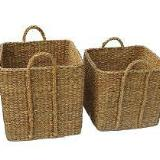 Set of 4 Large Square Seagrass Log/Utility Baskets - Wholesome Habitat