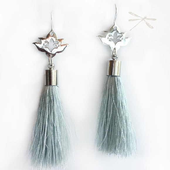Silver Lotus Tassel Drop Earrings