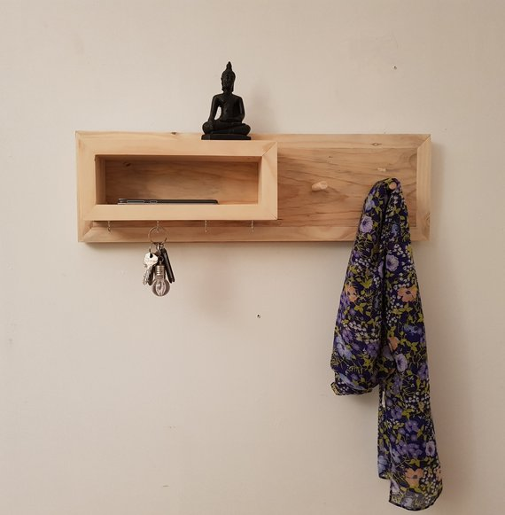 Reclaimed Timber Entry Organiser & Coat Rack - Small