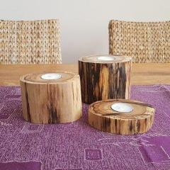 Reclaimed Tallowood Log Tea Candle Holders (Set of 3) - Wholesome Habitat