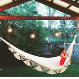 Travel hammock with crochet edging in Natural - Wholesome Habitat