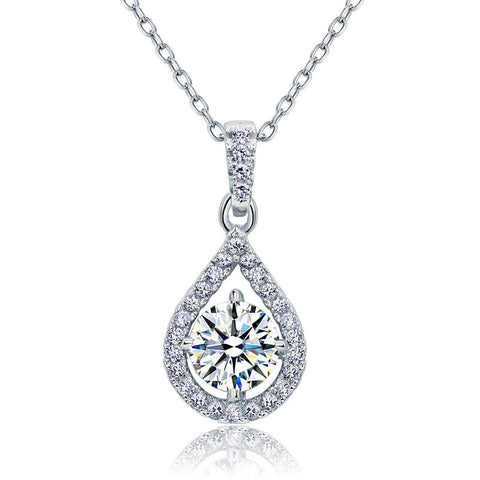 Tear Drop 1 Carat Round Cut Simulated Diamond 925 Sterling Silver Necklace