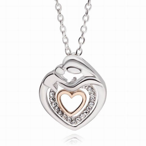 Mother Holding Child, Double Heart Crystal Pendant Necklace