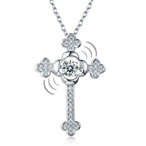 Dancing Stone Cross Necklace 925 Sterling Silver