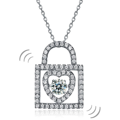 Heart Lock Dancing Stone Pendant Necklace 925 Sterling Silver