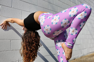 Lavender Magnolia Pattern High Waist Pink Performance Leggings