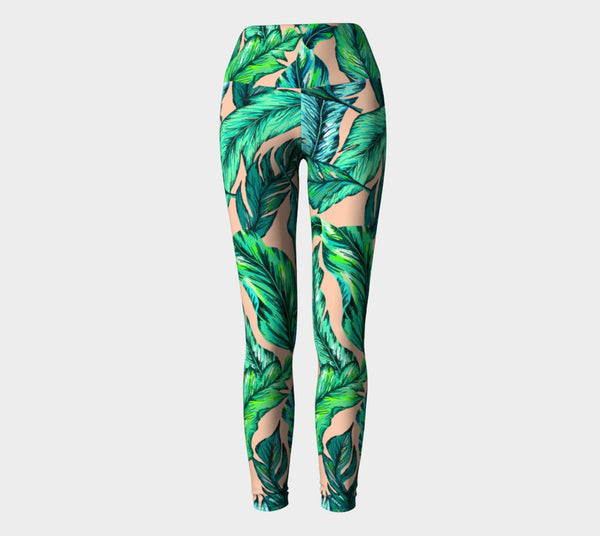 Jungle Vibes Leaf Pattern Performance Leggings