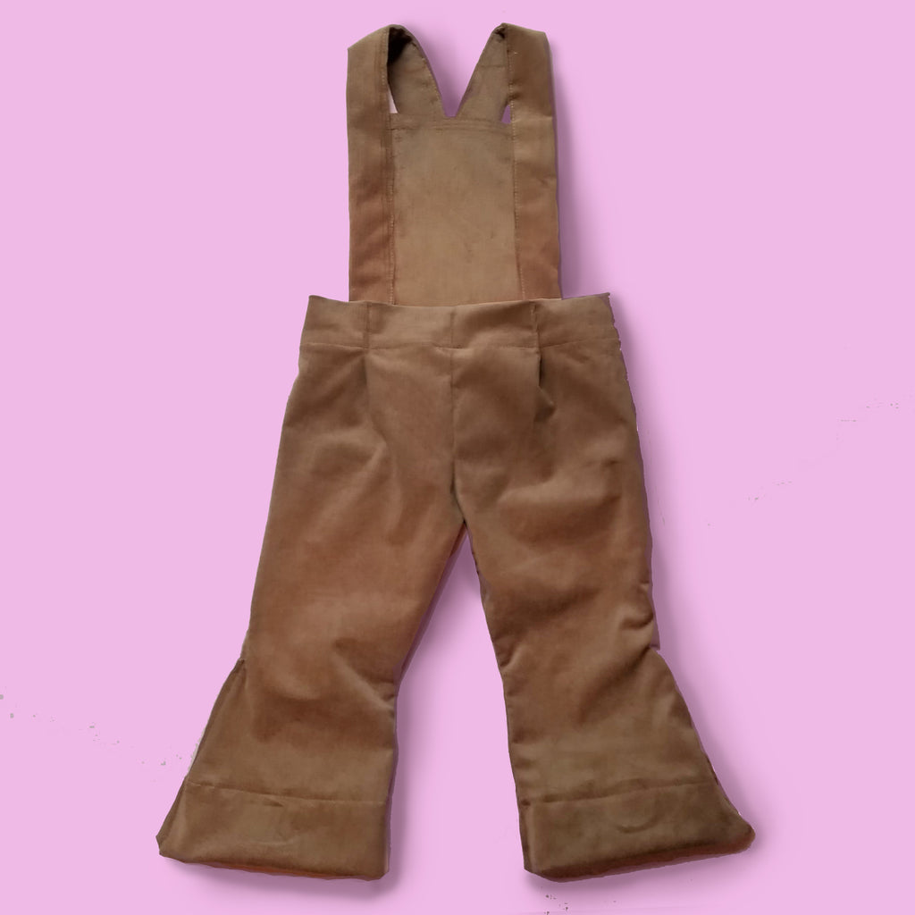 Corduroy Bell Bottom Jumpsuit Overalls in Camel