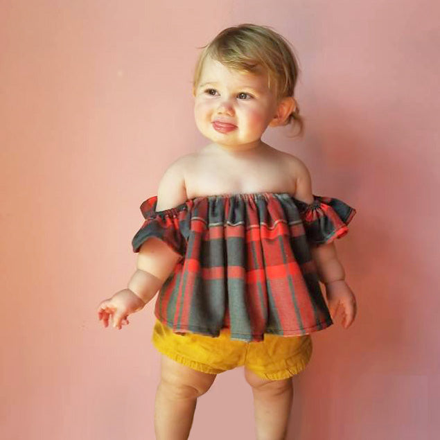 Red Plaid Flutter Top and High Waisted Bloomers