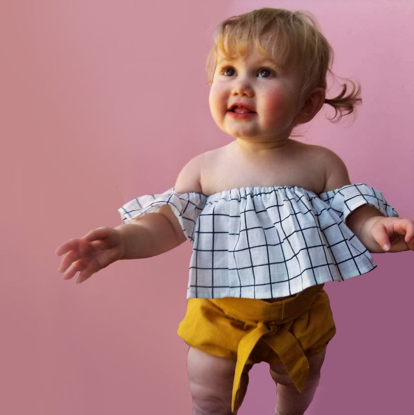 Windowpane Flutter Top and High Waisted Bloomers
