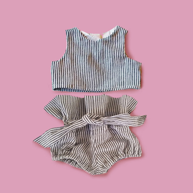 Linen Crop Top and High Waisted Bloomers