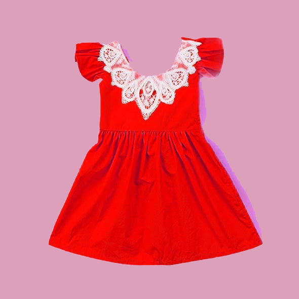 Copy of Lace Vintage Style Dress - red