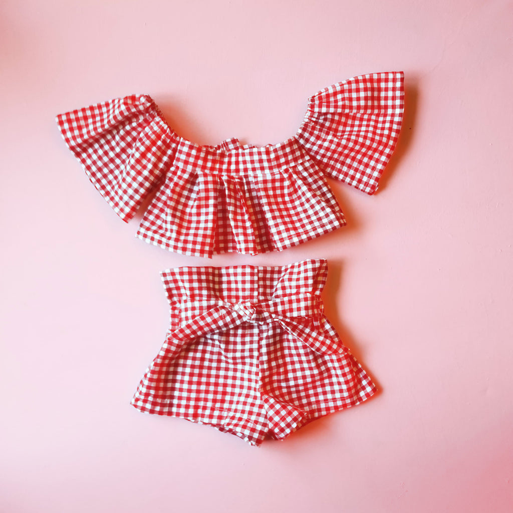 Red Gingham Flutter Top and High Waisted Bloomers