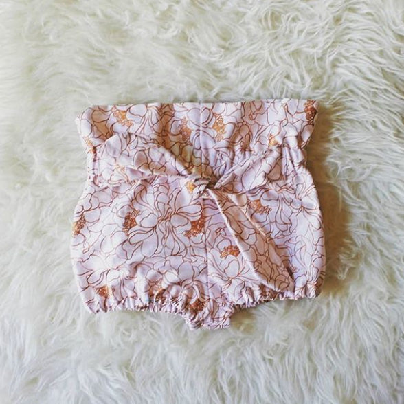 Pink & Gold Rose High Waisted Cotton Bloomers
