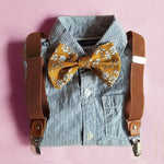 Stripe Button-Up Shirt Mustard Bow Tie & Faux Leather Suspenders