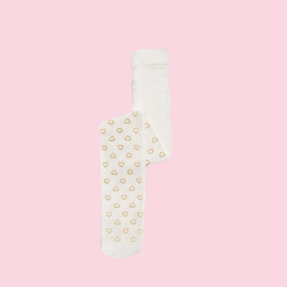 Tights - White with Gold Hearts