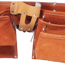 11 Pocket Cherry Brown Leather Tool Pouch (Pack of: 1) - AS-82103 - ToolUSA