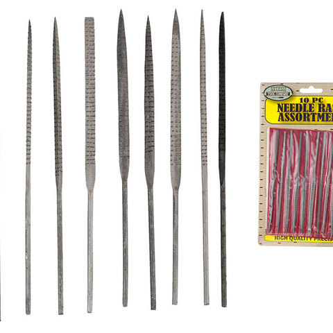 10 Piece 5.5-Inch Needle Rasp File Set (Pack of: 1) - F-90340 - ToolUSA