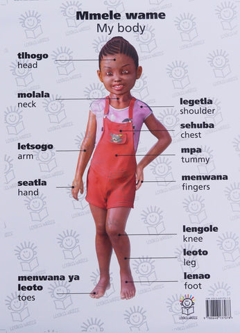 English and setswana multi language poster of little black girl- parts of the body