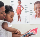 African girl with father reading bilingual books- afro natural hair