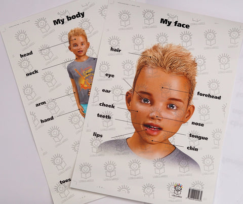 English face and body posters of little boy