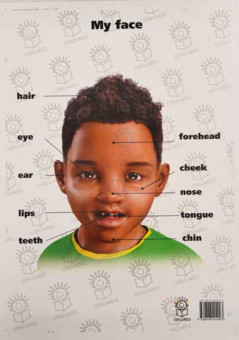 English poster of little boy's face
