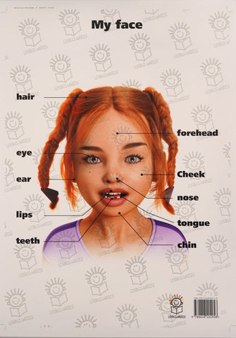 English poster of little girl's face