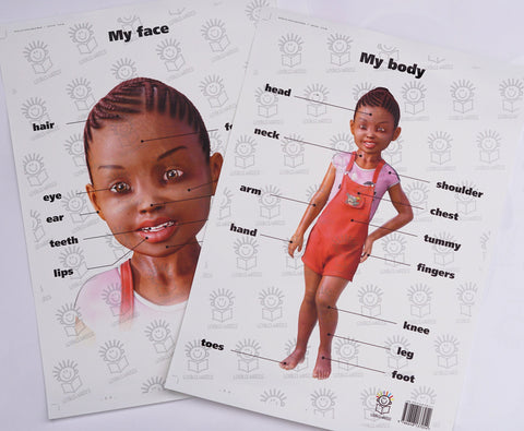 English My body and My face poster of little black girl