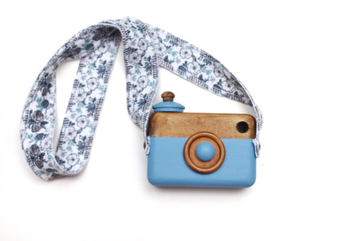 Dusty Blue Classic Cam with Blue Floral Strap