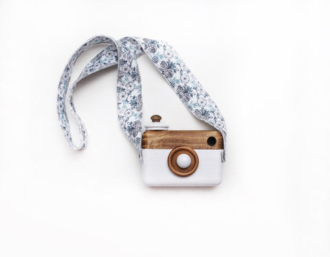 White Classic Cam with Blue Floral Strap