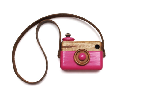 Fuchsia Classic Cam with Weathered Brown Leather Strap