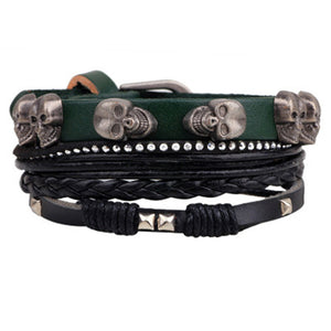 Multilayer Leather Skull Bracelet
