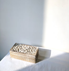 Whitewashed Carved Wooden Box