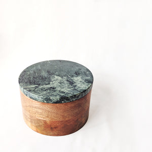 Green Stone Round Wooden Box