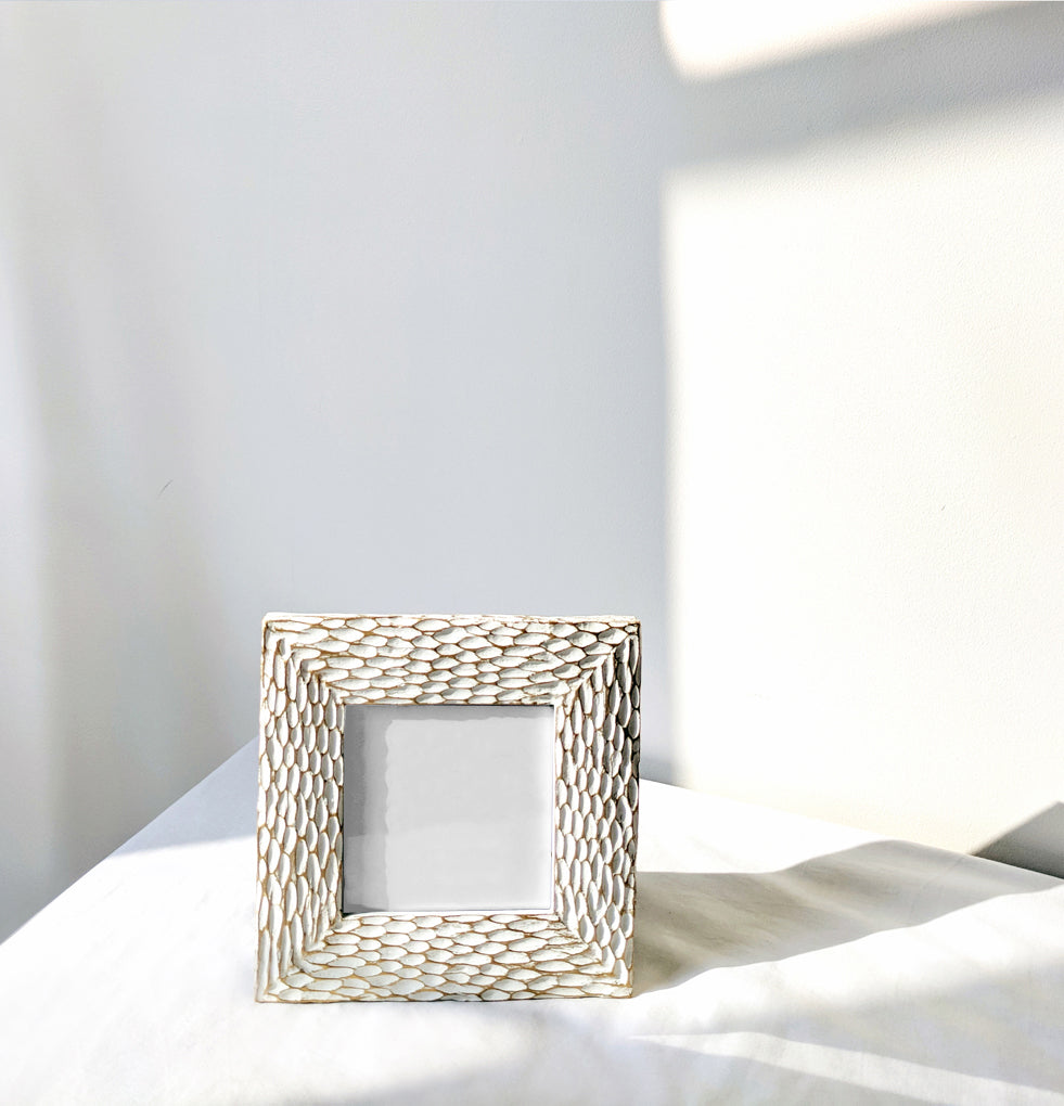 White / Gold Detail Frame