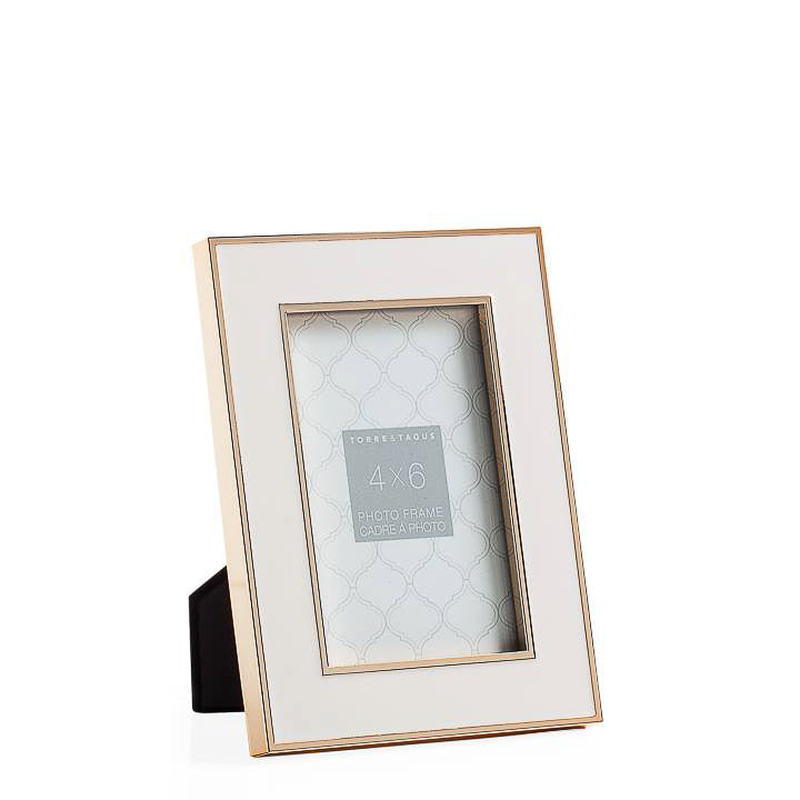Gold Trim White Enamel Frame